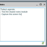 The shared notes module filled with text